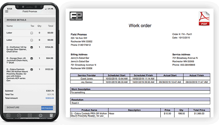 Generate Invoices from the Field