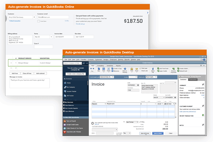 Generate invoices Automatically in QuickBooks